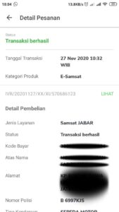 tangkapan layar detail pesanan yang berhasil di aplikasi Tokopedia